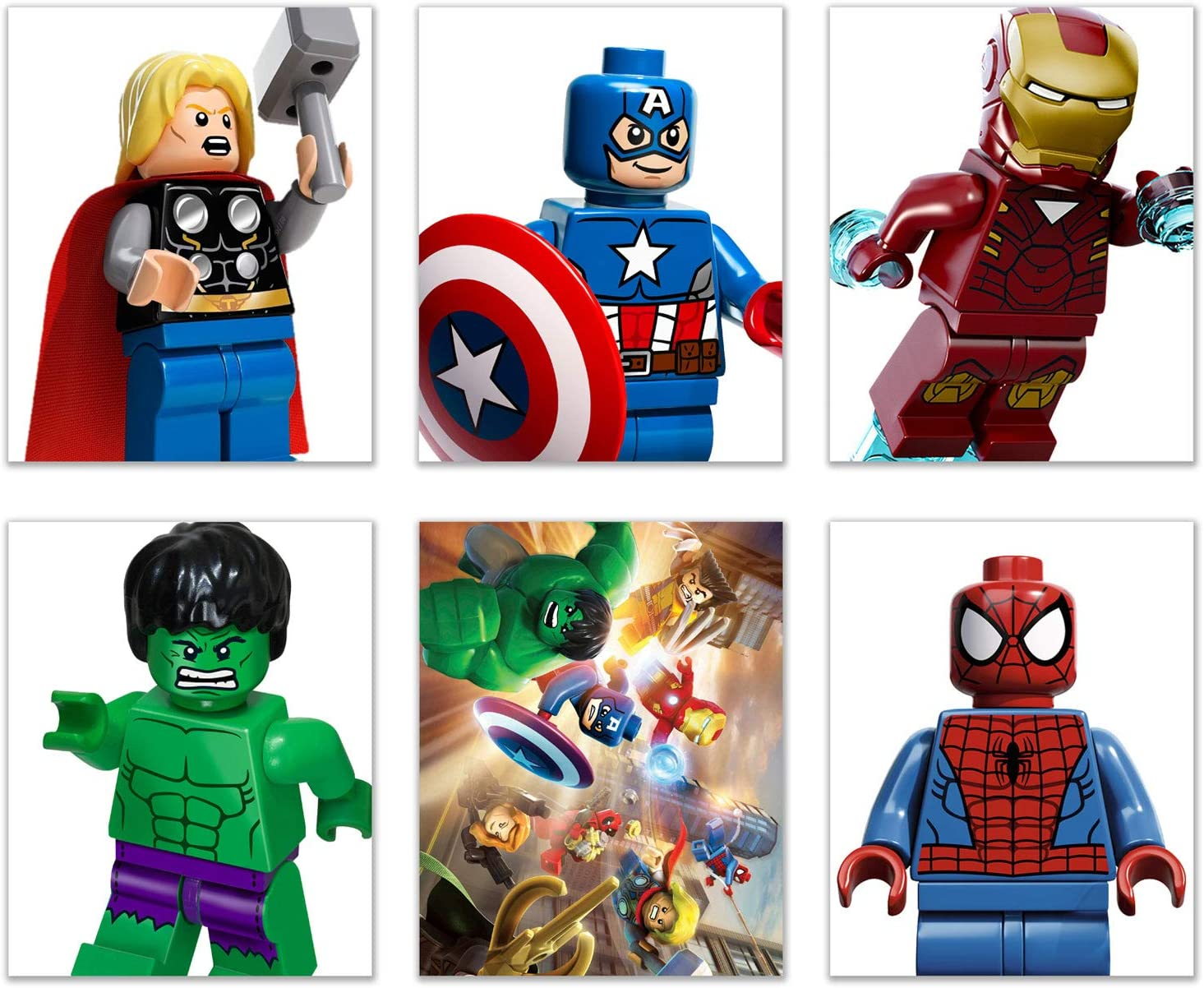 Lego Mini Figure Prints - Set of 6 (8x10) Poster Photos - Captain America Hulk Iron Man Spiderman Thor