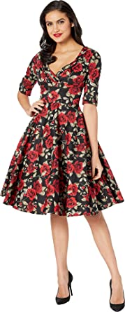 49c97a8c738 Unique Vintage Women s 1950s Delores Swing Dress with Sleeves Black Red  Roses Print X-
