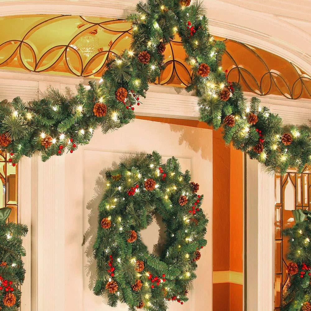 Iraza Corona Navide/ña Guirnalda de Navidad con los Cono de Pino y Artificial Bayas Rojo Decoraci/ón de Pared Puerta Sin LED, Di/ámetro 60cm