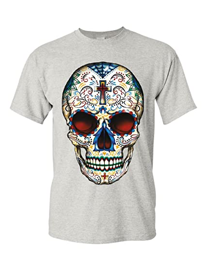 a782faf4c Sugar Skull Calavera T-Shirt Day of The Dead Dia de Los Muertos Mens Tee
