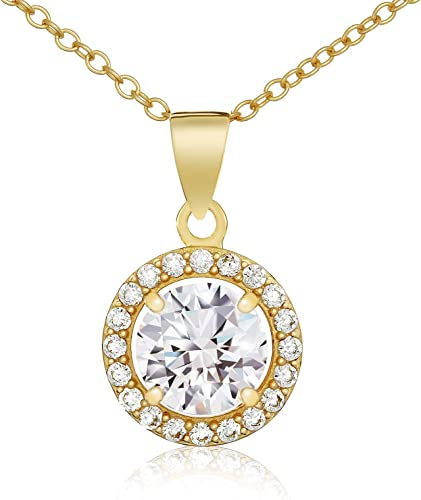 Sterling Silver Gold Plated CZ Pendant