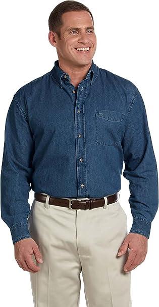 5b60dead118 Harriton Men s Long Sleeve Denim Shirt at Amazon Men s Clothing store