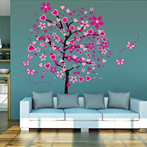 LiveGallery Removable Huge Pink Cartoon Heart Flower Tree Wall Decals Red Butterfly Wall Stickers Home Art Decor for Kids Girls Babys Bedroom Nursery Room Living Room Decorations