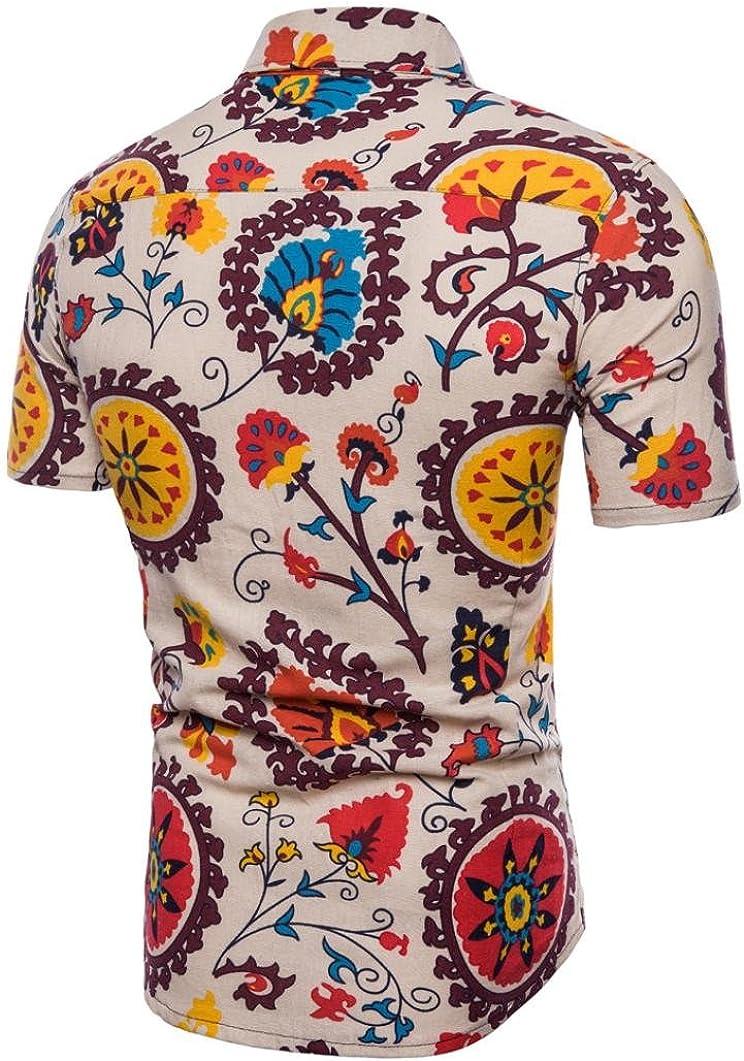 Camisas Casual Blusa Delgada Casual De Manga Corta Playa Tops Qinmm Camisa Estampada Boho Verano Del Hombre De Tallas Grandes Ropa