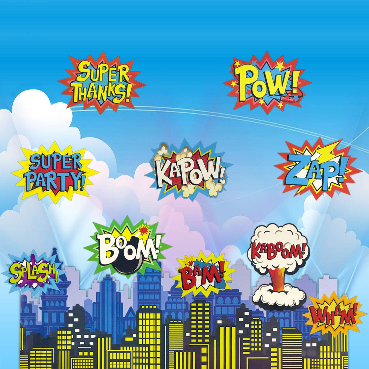 Large Superhero Action Signs Cutouts 12PCS Words and Cityscape Cut-Outs for Party Decoration by Fancy Land (Image #7)