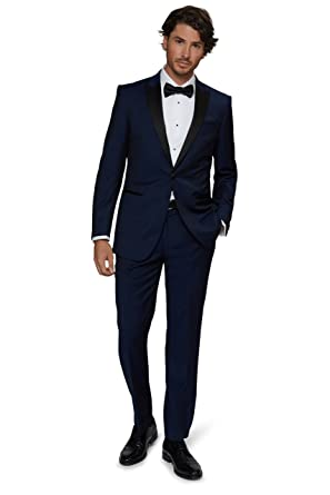 97f98aee7b0993 MOSS 1851 Men`s Tailored Fit Bright Blue Tuxedo: Amazon.co.uk: Clothing