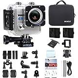 Caméra Sport, WiMiUS L1 Camera Sportive WiFi 4K Caméra d'action HD 20MP Etanche avec 2 Batteries et Kit d'Accessoires (Argent)
