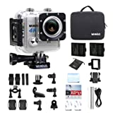 WiMiUS Action Cam 4K WIFI Fotocamera Subacquea Impermeabile HD 20MP Action Sport Camera + 2 Batterie e Kit Accessori (Argento)