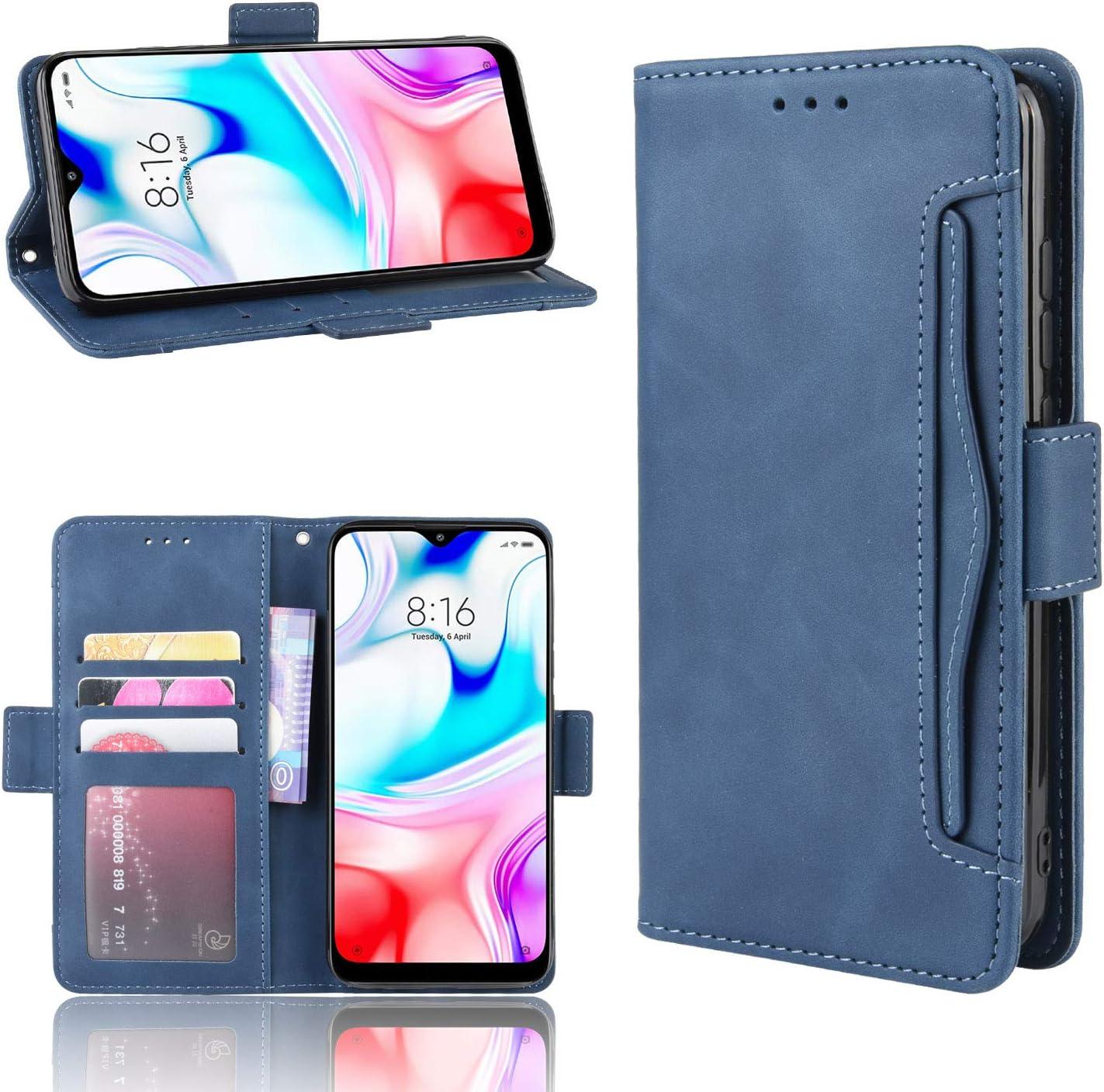 LOEBE020971 Blu Custodia a Libro Pelle Porta Carte Chiusura Magnetica Antiurto Flip Wallet Case per Xiaomi Redmi 8 Lomogo Cover Xiaomi Redmi 8 Portafoglio