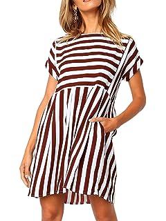 51224ab93e55 Naggoo Womens Stripe Short Sleeve Back Zip Pleated A-line Short Dresses  with Pockets