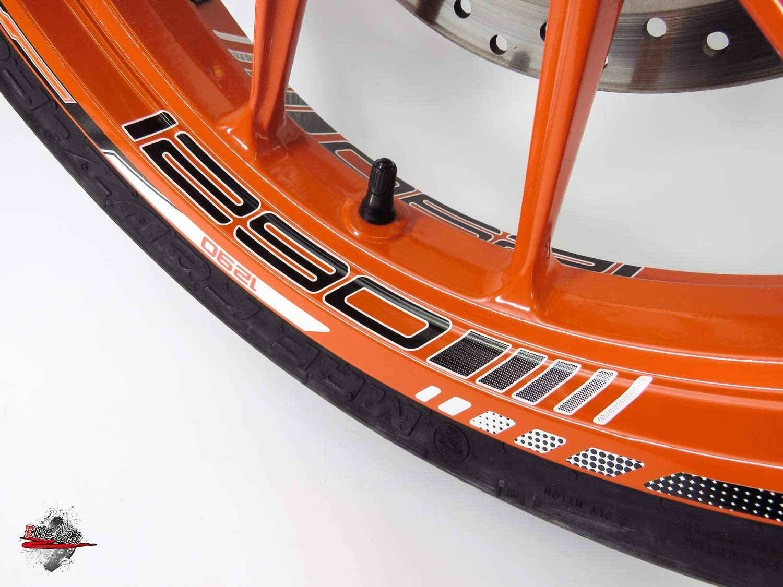 passend f/ür KTM 1290 Super Duke Bike Label 710048 Felgenbett mit Felgen-Aufkleber Set