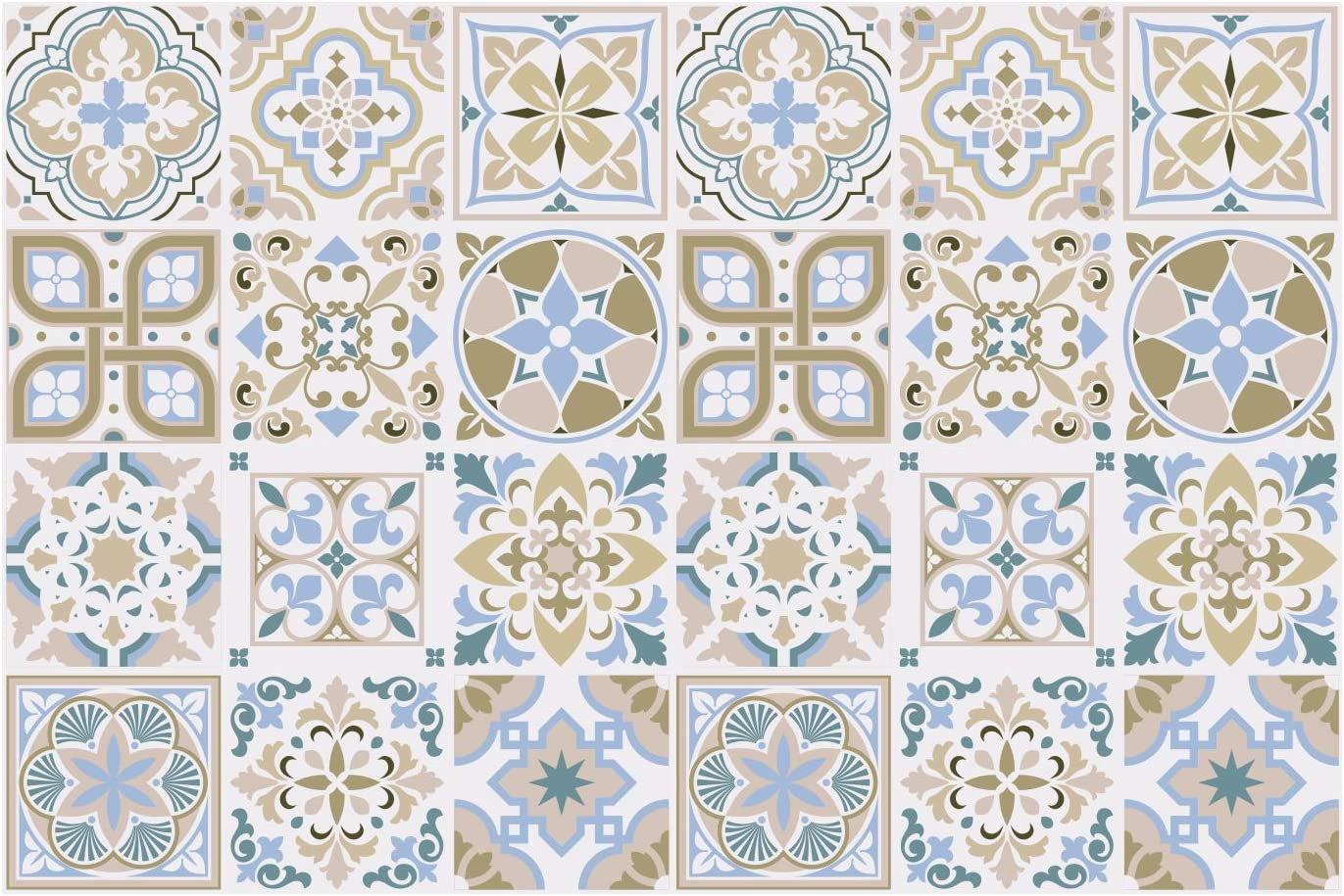 Amazon Com 24pcs 6 Peel And Stick Vinyl Backsplash Tiles Stickers Tile Paint Removable Waterproof Self Adhesive Decals Vinyl Home Kitchen Bathroom Spring Easter Decoration Light Sapphire And Parchment Kitchen Dining