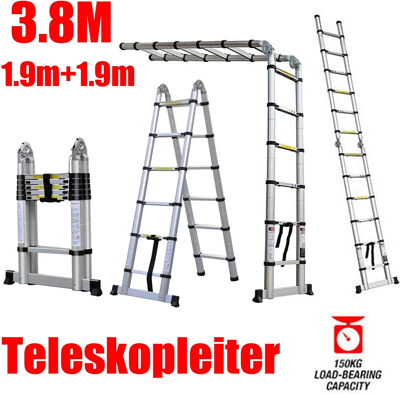 4,7m Aluminium Mehrzweckleiter Teleskopleiter Ausziehbar Leiter Klappleiter Anti-Rutsch Stufen Multifunktionsleiter Trittleiter mit 1 Werkzeugablage 150KG Belastbarkeit