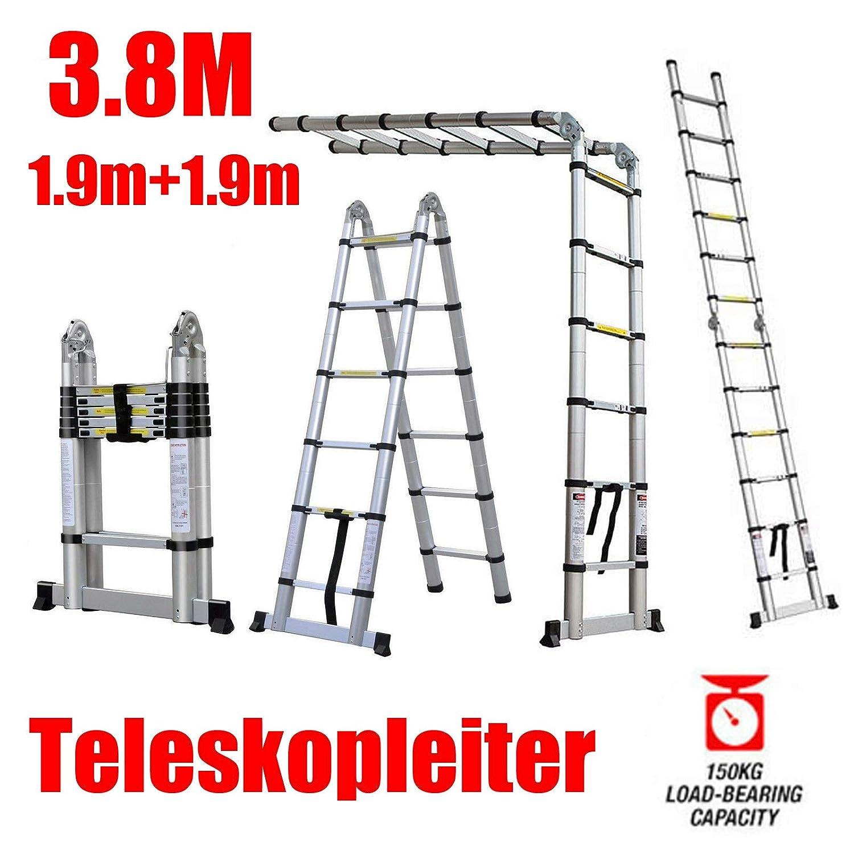 Teleskopleiter 3,8M Aluminium Tragbare Klappleiter Mehrzweck Kompakte Rutschfeste Sicherheitsleiter 150KG Max Zuladung 1,9m + 1,9m