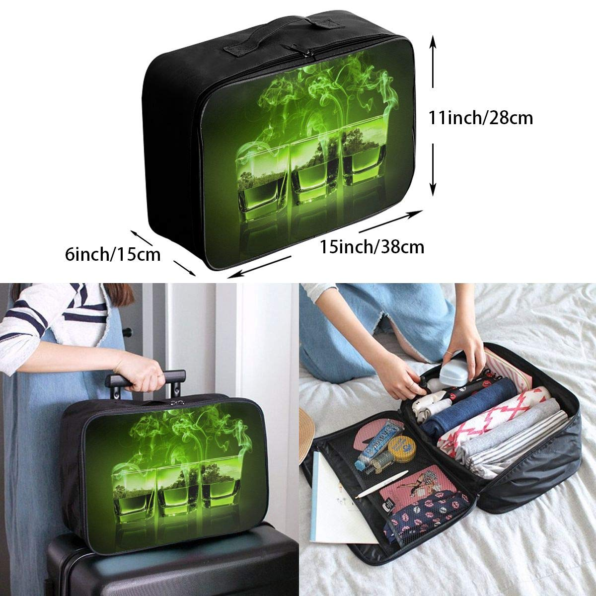 Travel Luggage Duffle Bag Lightweight Portable Handbag Green Cocktail Large Capacity Waterproof Foldable Storage Tote