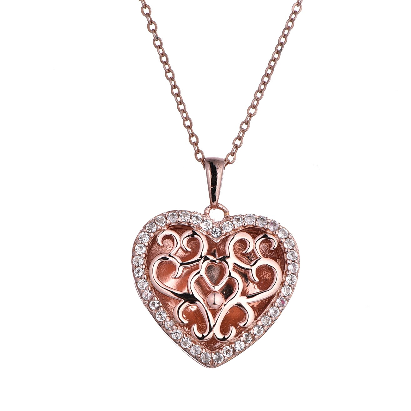 Rose Gold-White Topaz-Heart-Custom Photo Locket Necklace-30-inch chain-The Mary by With You Lockets