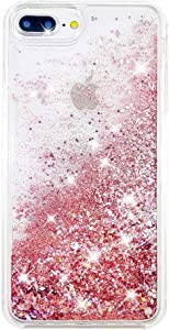 "uCOLOR Rose Pink Glitter Case for iPhone 7 Plus iPhone 8 Plus Case iPhone 6S Plus/6 Plus Case (5.5"") Sparkle Quicksand Liquid Waterfall Clear Protective Case for iPhone 7 Plus/8 Plus/6s Plus/6 Plus"