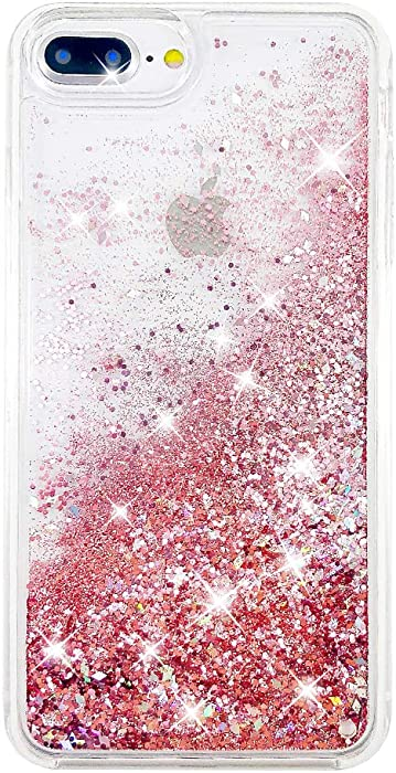 """uCOLOR Rose Pink Glitter Case for iPhone 7 Plus iPhone 8 Plus Case iPhone 6S Plus/6 Plus Case (5.5"""") Sparkle Quicksand Liquid Waterfall Clear Protective Case for iPhone 7 Plus/8 Plus/6s Plus/6 Plus"""
