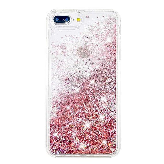 online retailer 8193f 2621b uCOLOR Rose Pink Glitter Case for iPhone 7 Plus iPhone 8 Plus Case iPhone  6S Plus/6 Plus Case (5.5