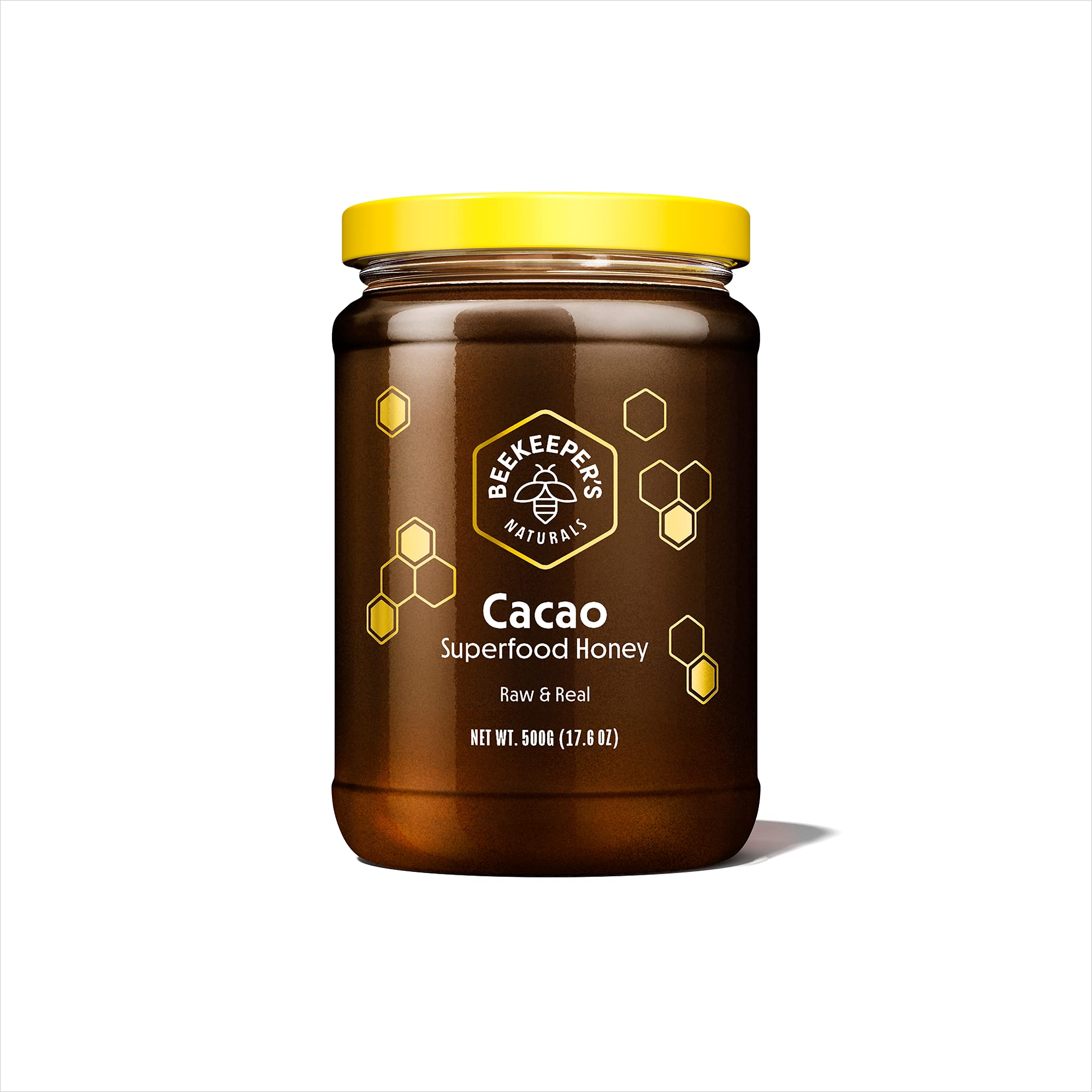 Beekeeper's Naturals Superfood Cacao Honey - Raw Honey with Organic, Raw Ecuadorian Cacao, Filled with Antioxidants, Iron and Calcium - Paleo-Friendly, Gluten, Dairy, Egg & Sugar Free (1.1lbs)