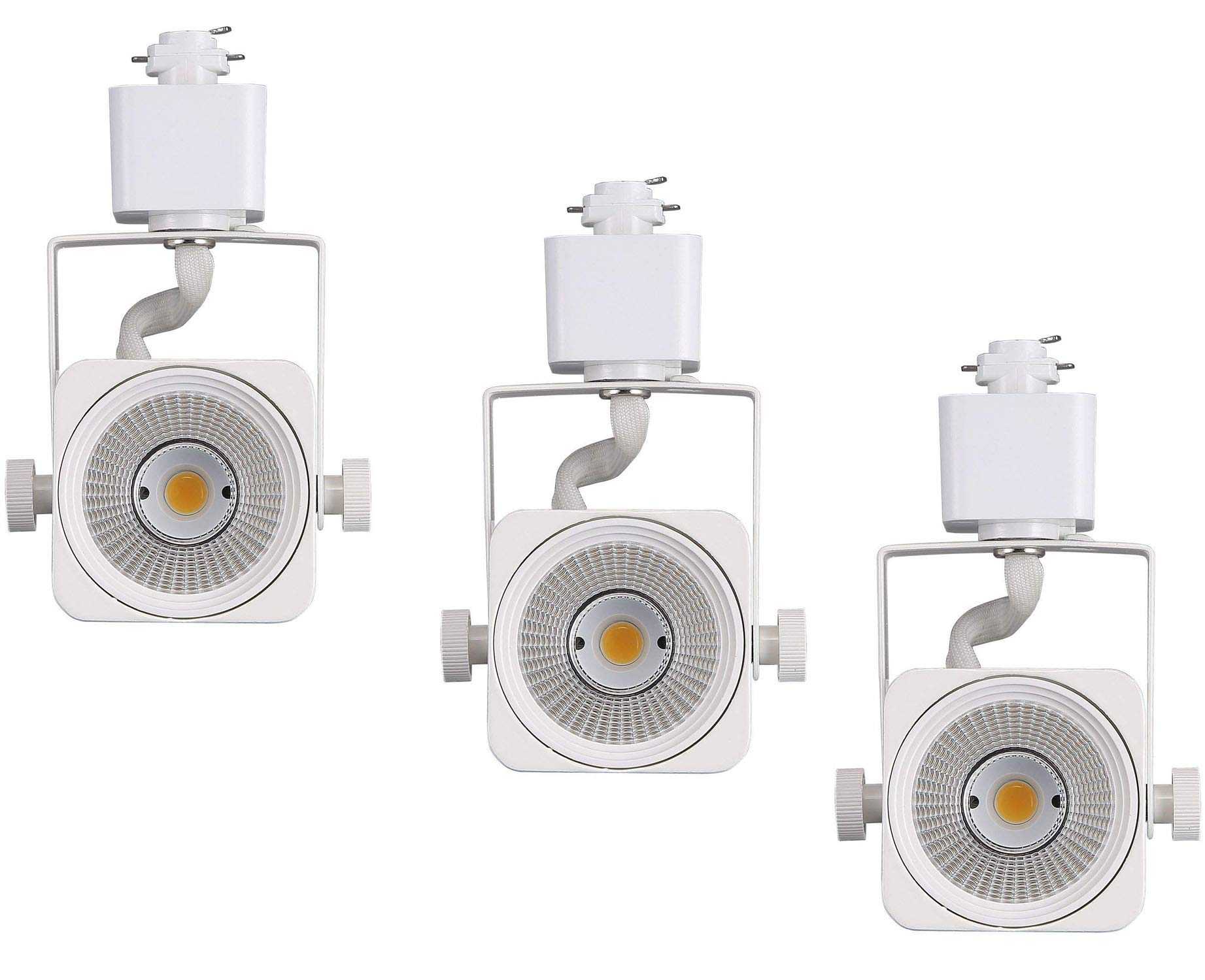 Cloudy Bay LED Track Light Head,CRI90+ Warm White 3000K Dimmable,Adjustable Tilt Angle Track Lighting Fixture,8W 40° Angle for Accent Retail,White Finish,Halo Type- 3 Pack