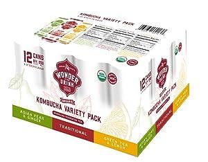 Wonder Drink Kombucha Variety Pack of Sparkling Fermented Tea, 12 Count