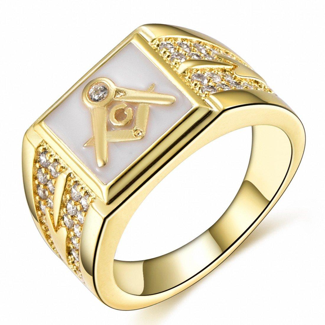 Songdetao 18K Gold Plate Men's Masonic White Lodge Mason Crystal Freemason Rings Sz 8