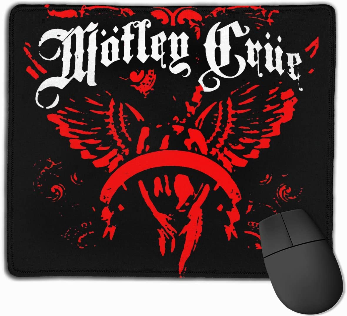 Motley Crue Mouse Pad with Stitched Edges Quality Textured Mouse Pad for Laptops Computer and PC Non-Slip Rubber Base Mouse Pad