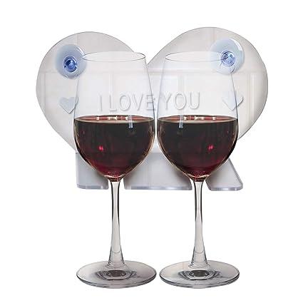 . Bathtub Wine Glass Cup Holder Caddy Shower   Relax Bath Powerful Strong  Suction Cups Heart Shape Design Acrylic   One Year Warranty