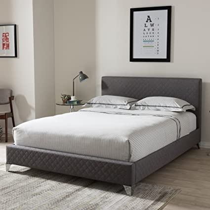 Miraculous Baxton Studio Harlow Upholstered Queen Platform Bed In Gray Onthecornerstone Fun Painted Chair Ideas Images Onthecornerstoneorg