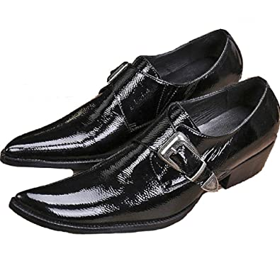 Size 5-12 New Comfort Black Patent Leather Mens Slip On Buckle Formal Suit Dress Loafers Shoes