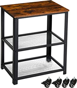 YMYNY Industrial Serving Cart, 3-Tier Kitchen Rolling Utility Microwave Cart, Vintage End Table on Wheels for Living Room, Home Office Storage with Metal Frame, Easy to Assemble, Rustic Brown UTMJ011H