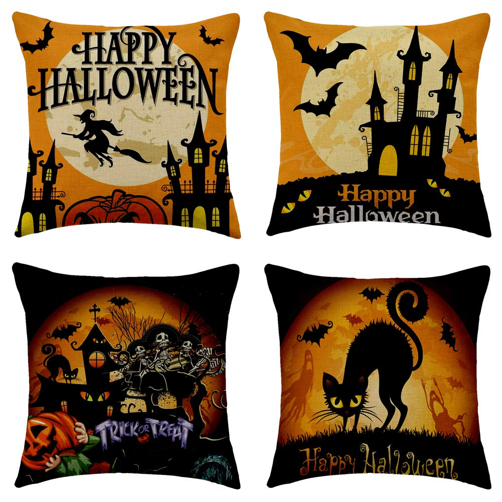 """WFLOSUNVE Halloween Throw Pillow Covers Trick or Treat 18""""x 18"""" Set of 4, Faux Linen Bat, Castle, Cat, Pumpkin, Skull and Witch Decorative Cushion Cases Pillowcases for Couch and Sofa"""
