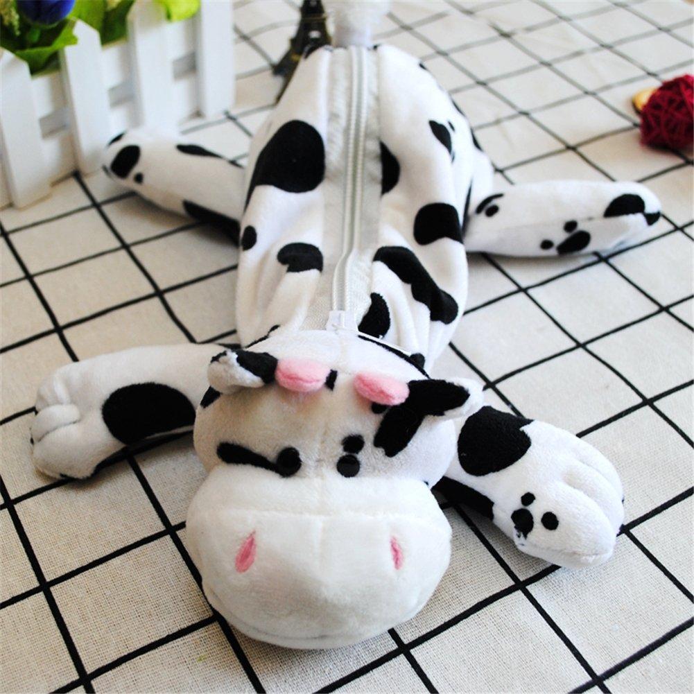 YOURNELO Cute Cartoon Plush Animals Toy Pencil Bag Pen Case Multi-Functional Felt Pouch Zipper Bag for Pens Pencils Holder Desk Organizer Accessories (Dairy Cow White Black)