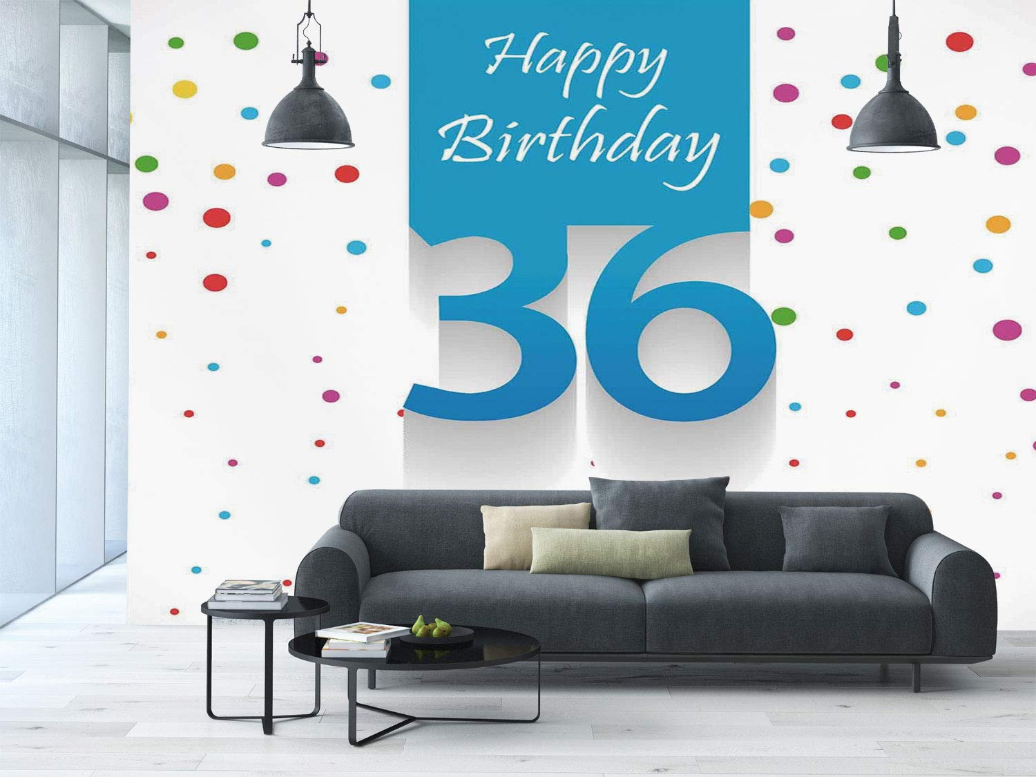 Large Wall Mural Sticker 36th Birthday DecorationsHappy Quote On Blue Backdrop With Colorful Polka DotsMulticolor Self Adhesive Vinyl