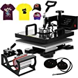 Mophorn Heat Press 5 in 1 15 X 15 Inch Multifunction Sublimation Heat Press Machine Desktop Iron Baseball Hat Press 1000W Digital Swing Away Transfer T Shirt Hat Mug (5IN1 15x15Inch)