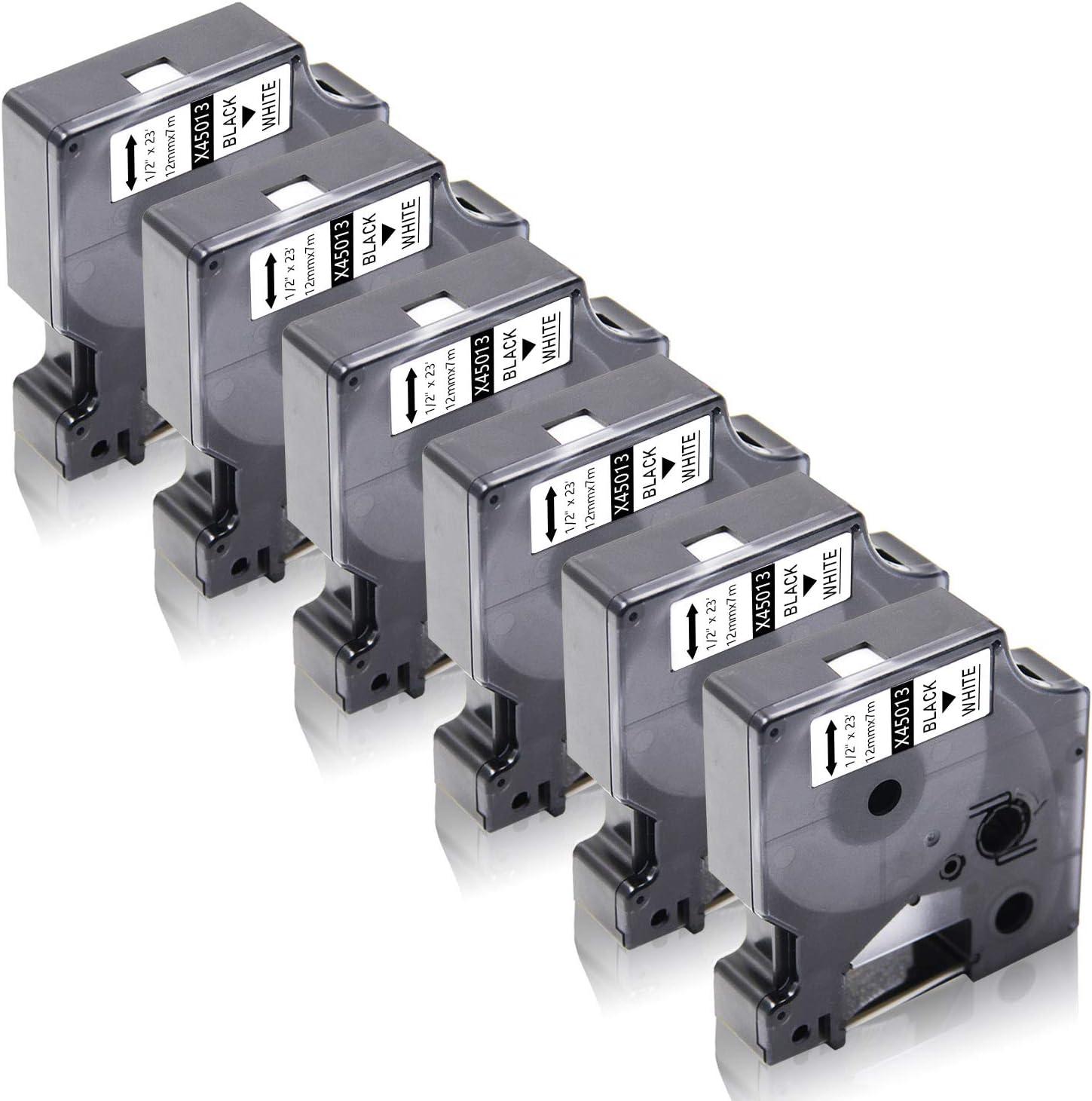 12mm x 7m Cassetta Nastro per DYMO/LabelWriter 450 Duo LabelPoint 100 150 250 LabelManager 160 210D 220P 260P 280 360D 420P 450 500TS PnP MobileLabeler 5x Compatibile D1 45013 Nero su Bianco