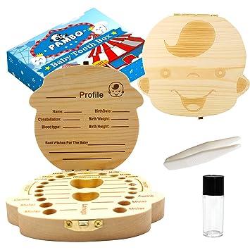 Greatangle Creative Baby Teeth Box Saver Storage Box Wooden Children Teeth Holder Organize Box Milk Teeth Keepsake for Girls Boys