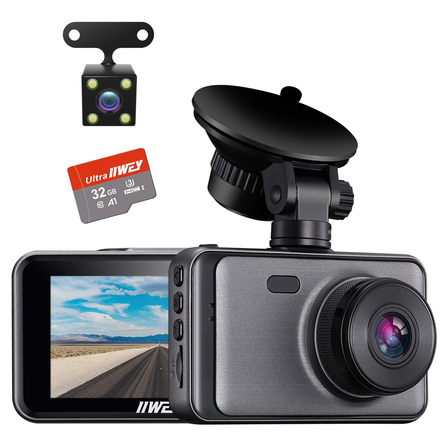 Dash Camera for Cars, 1080P Dash Cam Front and Rear and SD Card Include, 3'' LCD Screen Dual Lens Dash Cam with Night Vision, 170° Wide Angle Dashboard DVR Motion Detection Parking Monitor G-Sensor WDR by iiwey