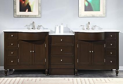 Silkroad Exclusive Marble Stone Top Double Sink Bathroom Vanity With Dark  Walnut Cabinet, 95