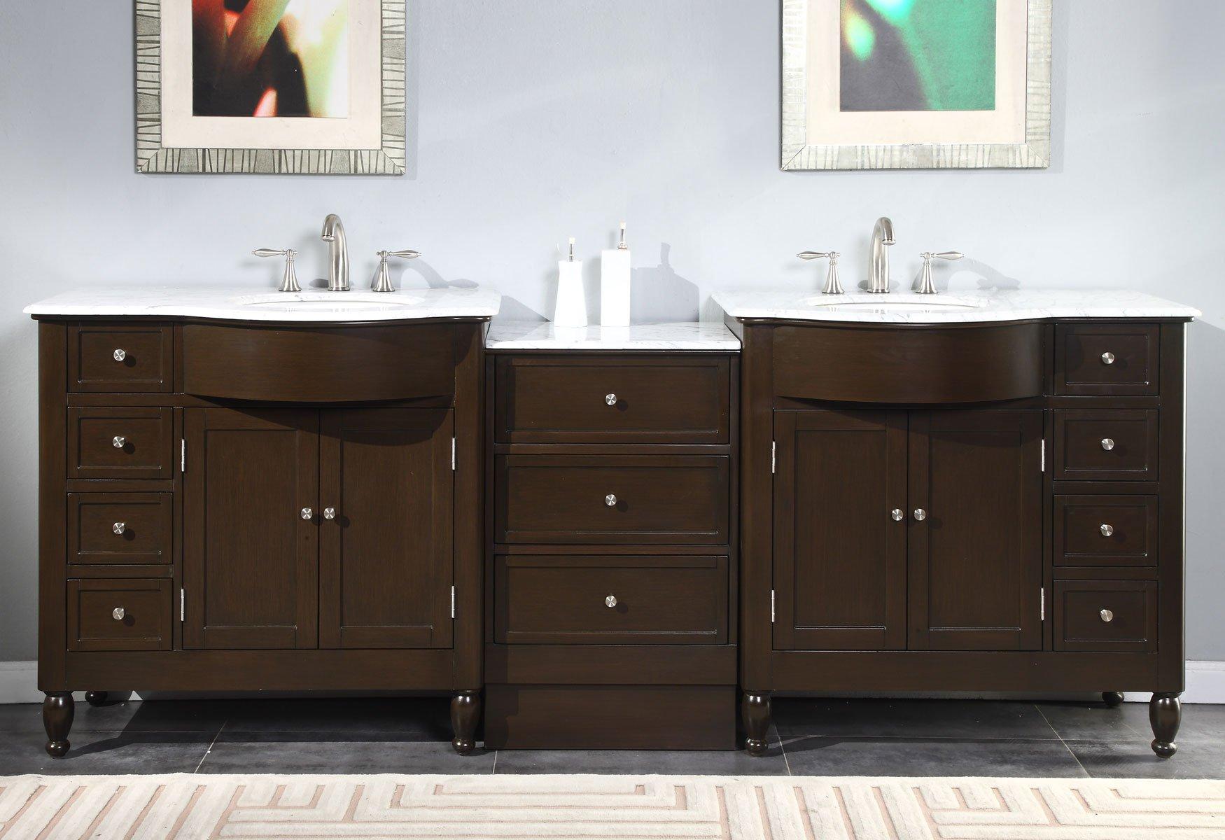 Silkroad Exclusive Marble Stone Top Double Sink Bathroom Vanity with Dark Walnut Cabinet, 95-Inch