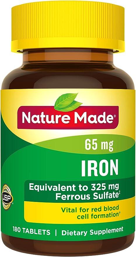Amazon.com: Tabletas de hierro Nature Made 0.00229 oz 180 ...