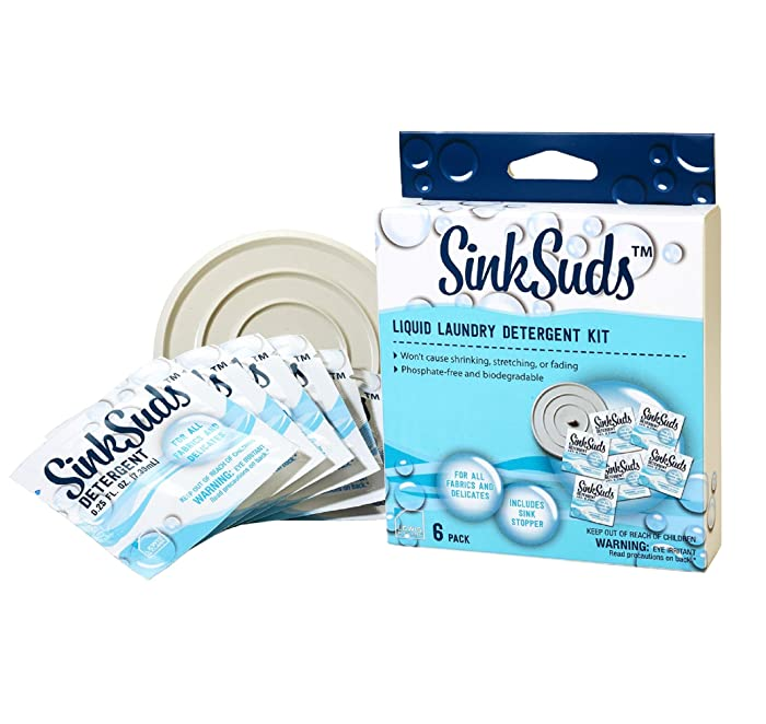 SinkSuds Travel Laundry Detergent Liquid Soap + Odor Eliminator for All Fabrics Including Delicates, (TSA Compliant), 6 Sink Packets (0.25 fl oz Each) + 4in Stopper, White