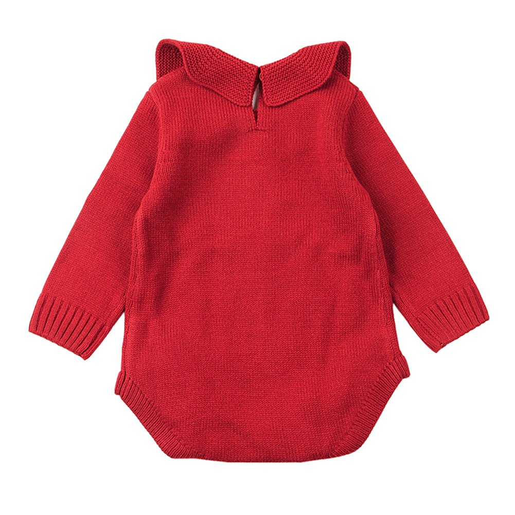 XARAZA Newborn Baby Girls Princess Knitted Sweater Romper Jumpsuit Ruffle Long Sleeve Winter Clothes