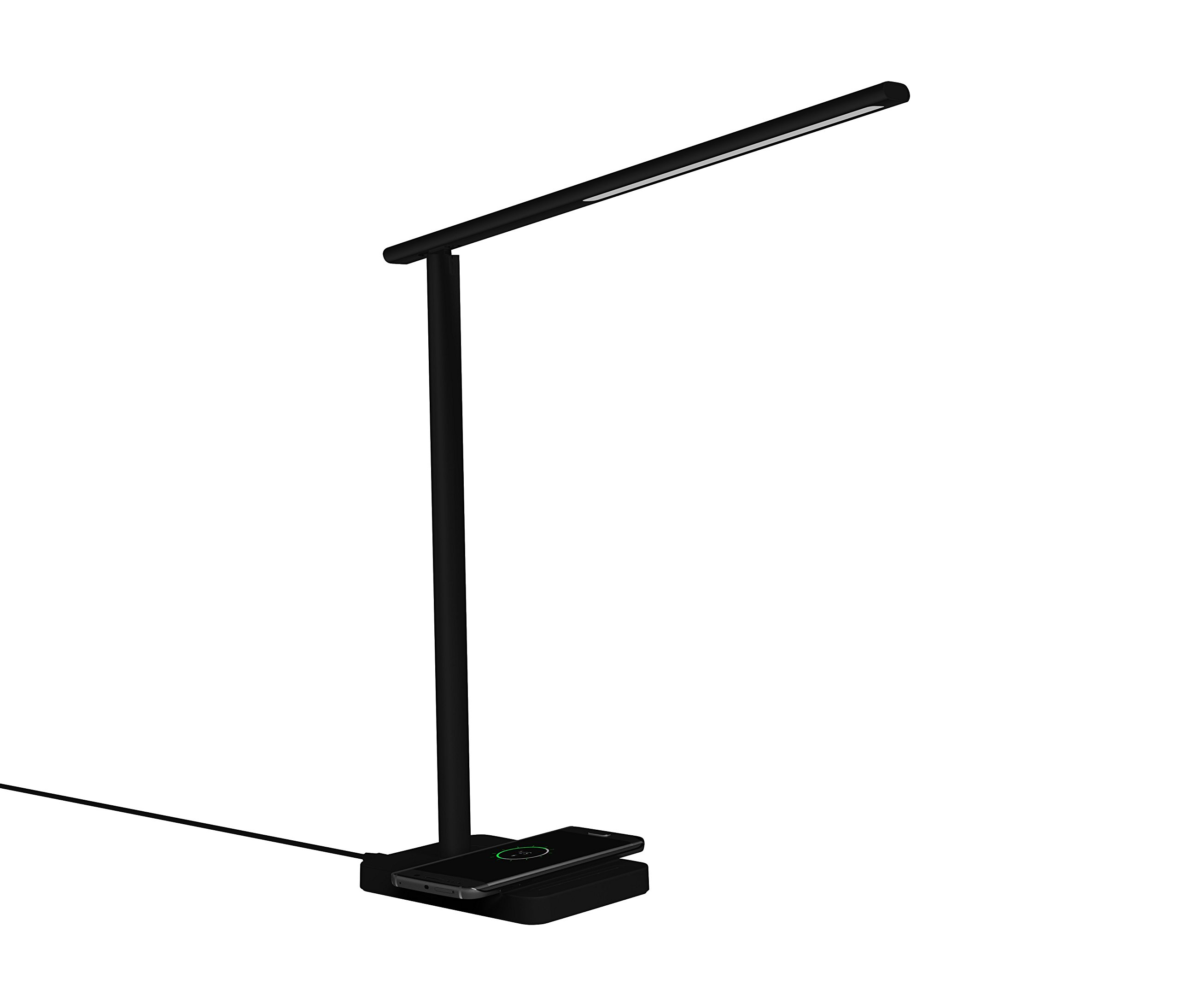 LED Desk Lamp with Qi Wireless Charger, Eye-caring Table Lamps, Dimmable Lamp with 5V/1A USB Charging Port, Office Desk Lamp, Touch, 4 Color Temperature Modes by Geelky (Jet Black)