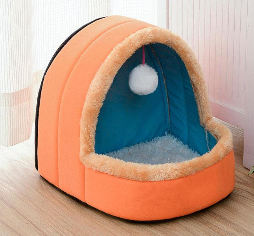 WWQY Round Pet Cat Dog Nest Bed Bun Puppy Soft Warm Cave House Soft Foldable Winter Soft Cozy Sleeping Bag Mat Pad Cushions, l