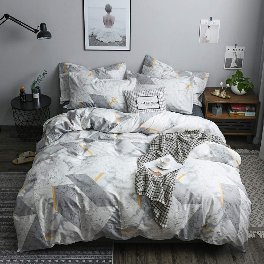 Marble Comforter Cover Queen Grey Boys Duvet Cover Queen Premium Cotton Teens Bedding Sets Full with Zipper Closure Geometric Kids Bedding Sets for Adults Men Anti-Wrinkle Quilt Cover, No Comforter