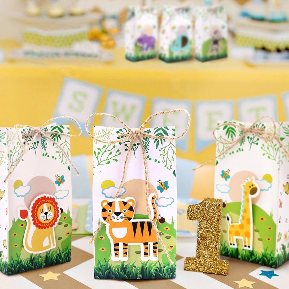 Baby Shower Safari Nino Decoracion.Aerwo Juego De 24 Cajas De Regalo Para Baby Shower Con
