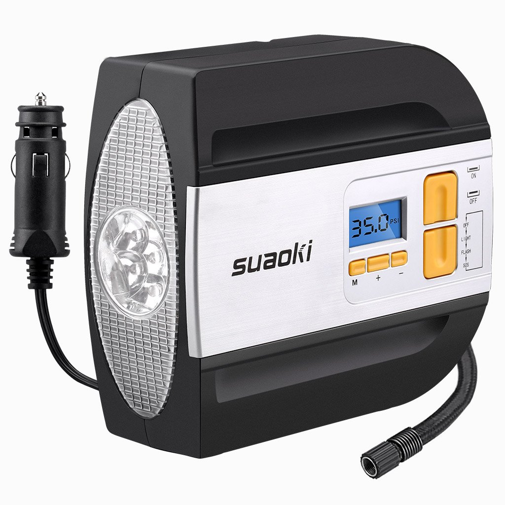 Suaoki 12V DC Tire Inflator Electric Portable Auto Air Compressor Pump to 100PSI for Car,Truck, Bicycle, Basketball 179143702-F1