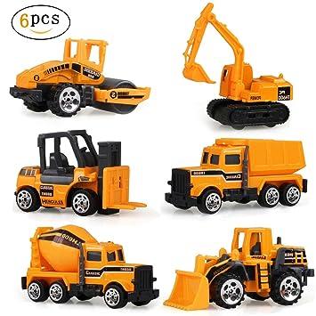 Coches Construcción Juguete De Plastico Para Juguetes Vehículos Niños 6pcs DEWIYeH92